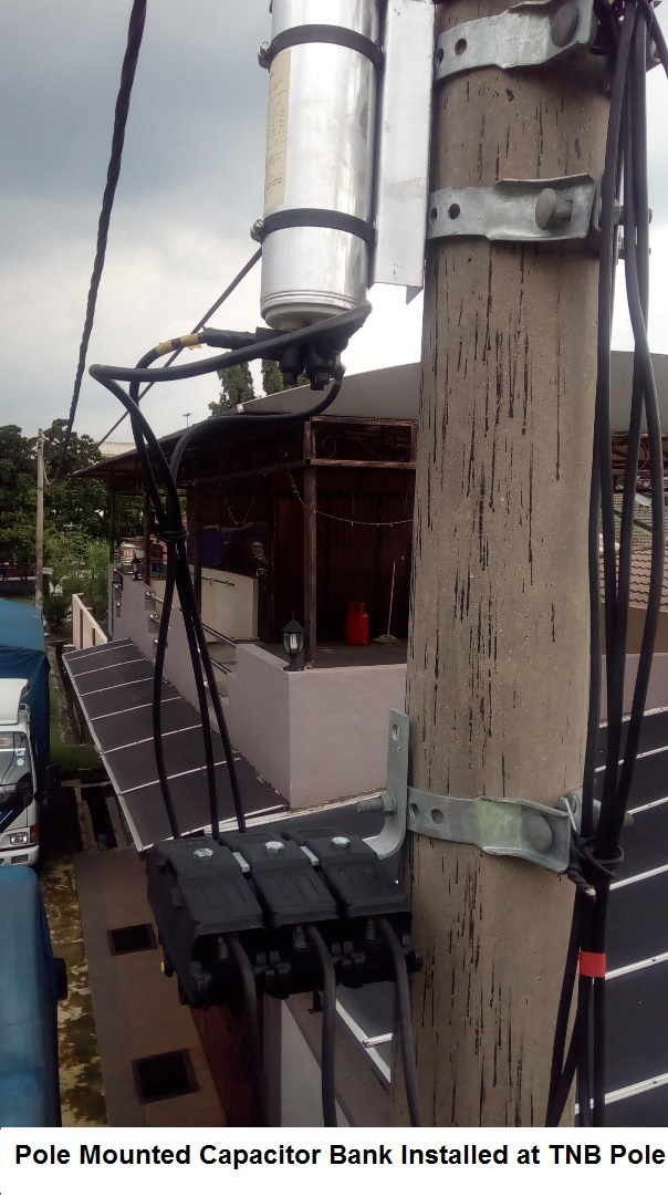 Pole Mounted Capacitor Bank Installed at TNB Pole